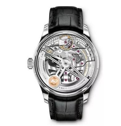 The precision of the IWC-manufactured movement could be appreciated through the transparent caseback.