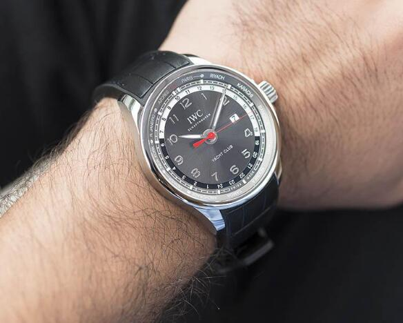 The red second hand is striking to the black dial.